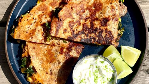 Steak quesadillas with lime cream